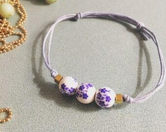 Blue Flower Beaded Bracelet