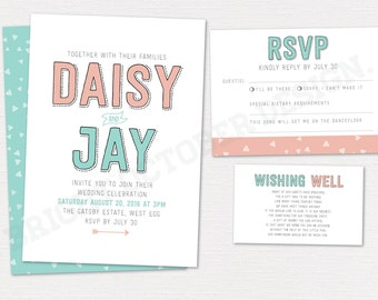 Simple wedding invitation suite 5x7 | digital download