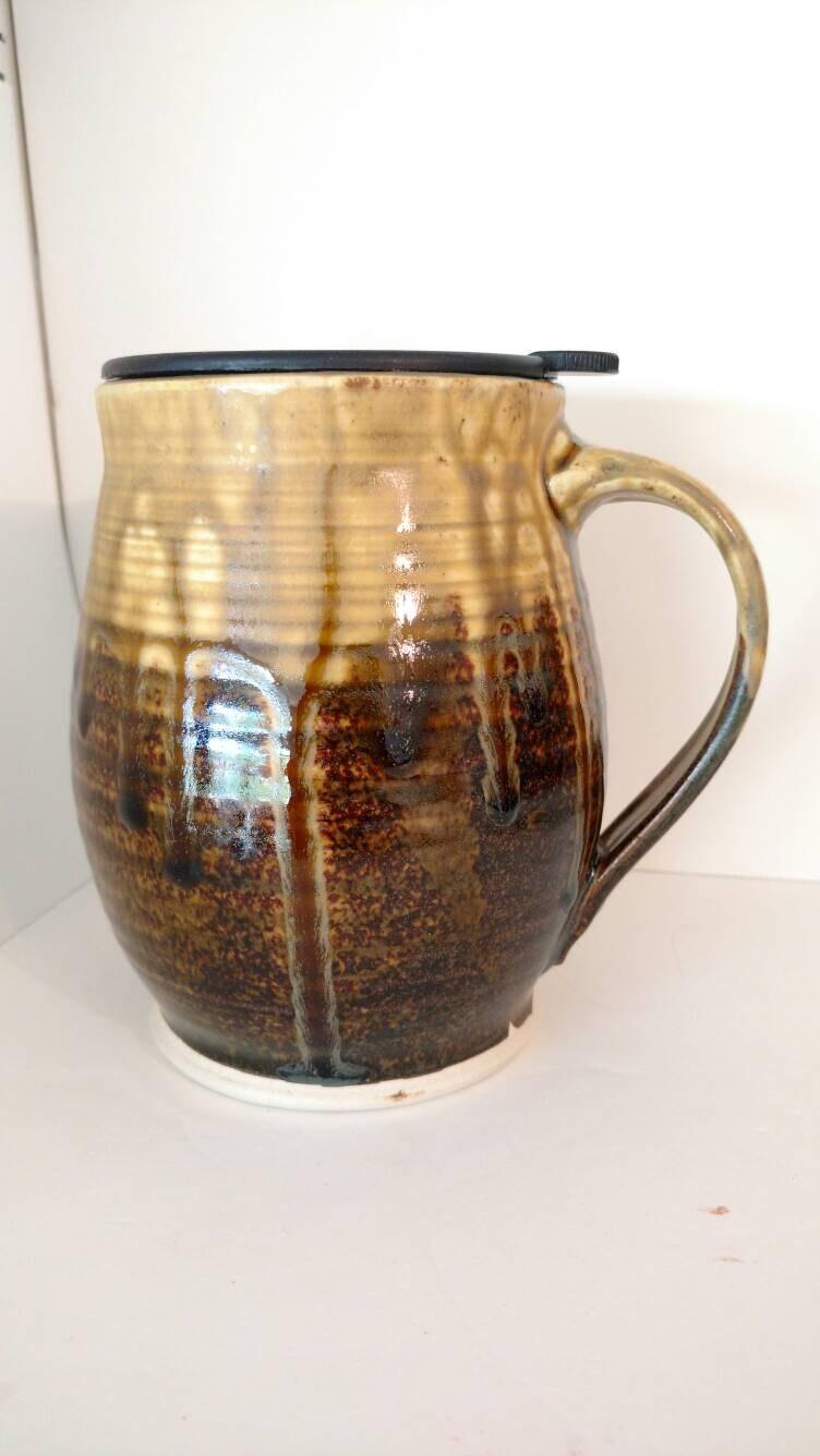 Large Unique Coffee Cup Travel Mug 20 Oz Tenmoku And Salt