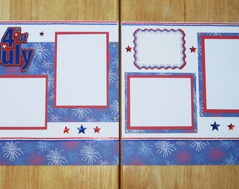 Fourth of July Scrapbook Layout - 4th of July Scrapbook Page - 12 x 12 Scrapbook - July 4th - Independence Day - Fireworks - Parade - USA