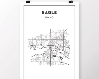 FREE SHIPPING to the U.S!!  EAGLE, Idaho Map Print