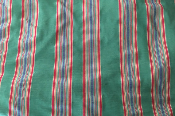 Green Red Brown Gold Blue Striped Upholstery Fabric By The