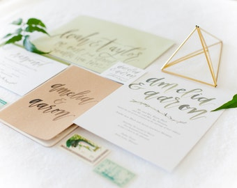 Hand-Lettered Calligraphy Wedding Invitation Suite - Aaron and Amelia Style