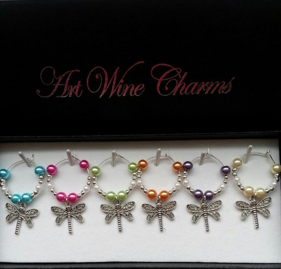 6 dragonfly themed wine charms garden themed by pickinsgalore