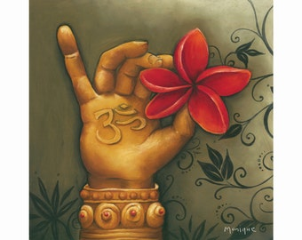 red buddha hand, hand painted, buddha print, red art print, red decor, instant download