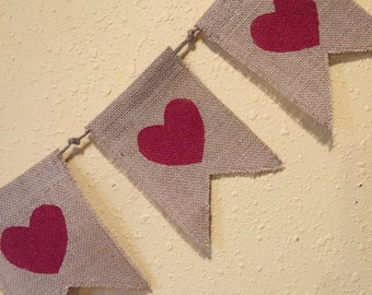 Burlap Heart Banner (5 flags)