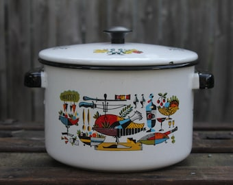 Vintage Retro Colorful  Enamel Stock Pot with Lid.