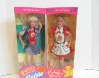 Vintage Barbies- set of 2-Holidays Treats and Back to School dolls.