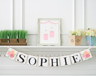 Baby Shower Name Banner - Baby Shower Sign - Personalized Baby Girl Banner - Baby Shower Decoration - Birthday Banner - Personalized