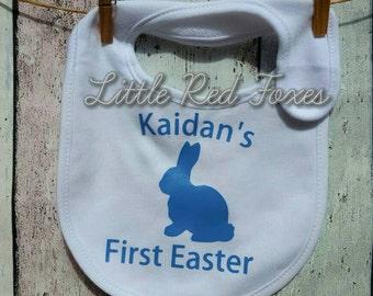 Personalised first easter bib- easter bib- baby bib- bunny- easter bunny-First easter bib