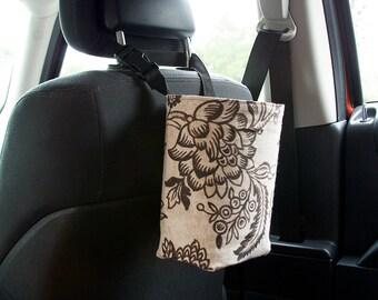 Fabric Car Trash Bag, floral, Car Trash Bag, Adjustable strap, Ready To Ship