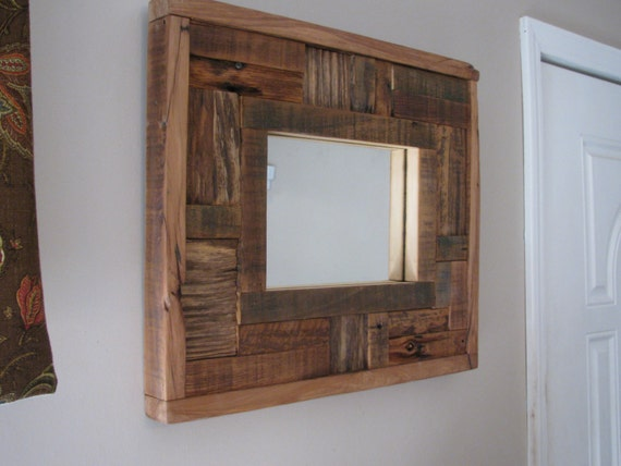 Items similar to barn wood mirror barnwood mirror mosaic for Miroir bois de grange