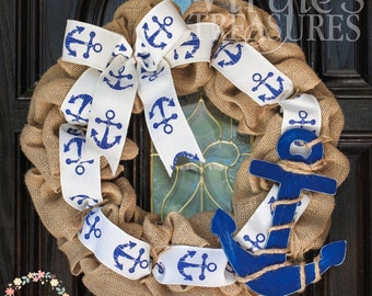 Nautical Burlap Wreath-Anchors-Summer Wreath-In the Navy-Blue Anchors-Front Door Wreath-Ready to ship