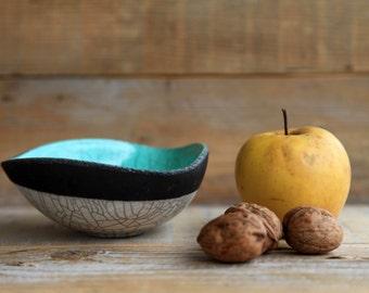 raku bowl ceramic geometric shape,mint green white