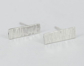Bar Stud Earrings Sterling Silver, Textured Lines, Tree Bark, Minimalist Rectangle  - Earth