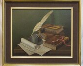 Original painting literary still life G Bailey signed framed Freight extra ask