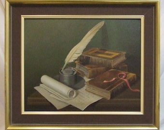 Original painting literary still life G Bailey signed framed
