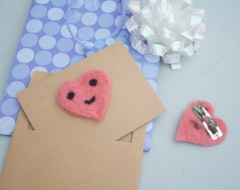 Smiley Heart Card, Hair Clip, Magnet, Brooch Pin, Fidget, Toy, Ornament, Lovie, Kraft Paper Greeting Card, Needle Felted Heart