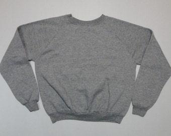 Vintage Heather Gray Raglan Sweatshirt 1980s M Soft