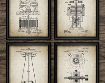 Tesla Patent Print Set Of 4 - Tesla Electromagnetic Motor - Nikola Tesla Design - Engineering - Set Of Four Prints #1204 - INSTANT DOWNLOAD