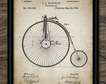 Vintage Bicycle Patent Print - 1881 Bicycle Design - Velocipede - Penny Farthing - Bicycle Wall Art - Single Print #1232 - INSTANT DOWNLOAD