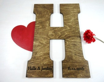 Engraved Wooden Letter Large Letters for Wall Wooden Monogram Letters Wedding Guest Book Ideas Guest Letters for Wedding Rustic Letters