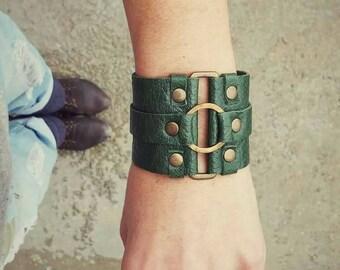 Leather Bracelet Cuff With Brass hoop - Soft Leather Cuff Bracelet