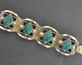 Vintage Mexican Silver / Green Onyx Bracelet