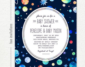 Great Space Boy Baby Shower Invitation, Blue Green Red Planets Stars Printable Baby  Shower Invite,