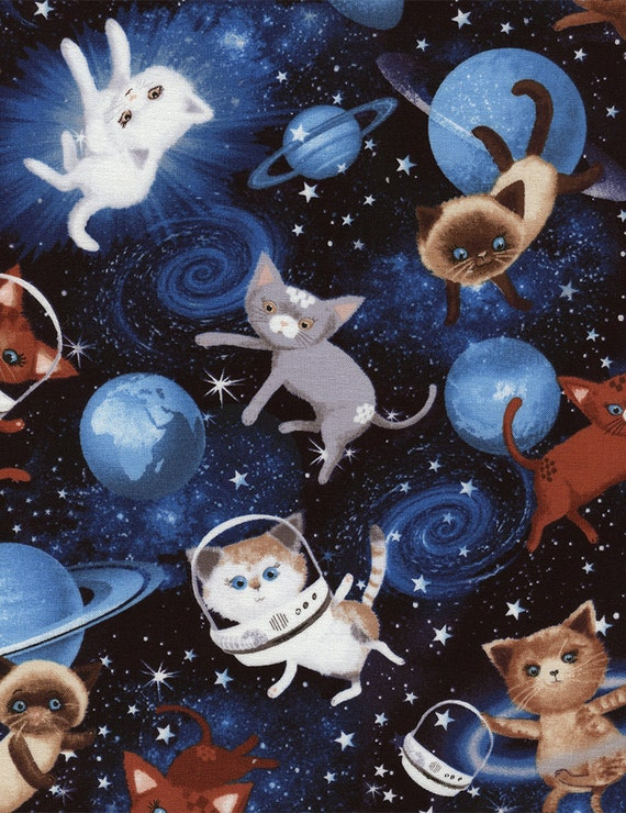 Space cats fabric c4867 fat quarter half yard or by tcsfabrics for Space themed fleece fabric