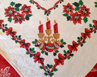"""Vintage 1960's Christmas Large Tablecloth- Poinsettia, Holly, Ornaments, Candles, Snowflakes, 58"""" X 75"""", 1950's, 1960's"""