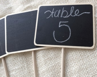 Chalkboard and wood table numbers