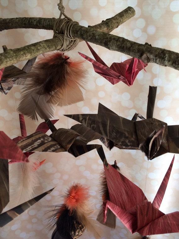 origami kranich mobile vogel feder mobile von babymajestic. Black Bedroom Furniture Sets. Home Design Ideas