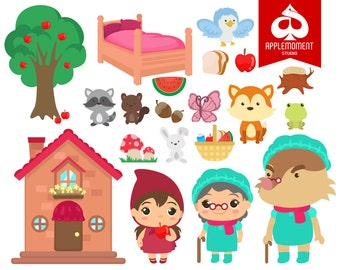 Little Red Riding Hood Digital Clipart for Personal and Commercial Use