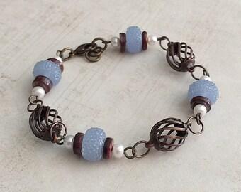 Light Blue Bead Bracelet, Blue Beaded Bracelets, Blue Bracelet, Blue Bracelets, Blue and Brown Bracelet, Bronze Bracelet, Blue Boho Bracelet