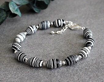 Black Bead Bracelet, Black Bracelet, Black Beaded Bracelet, Black and White Bracelet, Striped Bracelet, White Bead Bracelet, White Bracelet