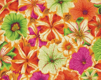 1/2 Yard Petunias Orange Philip Jacobs fabric PJ050