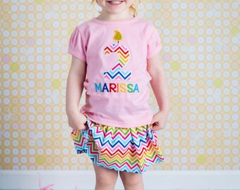 Girl Birthday Shirt with Rainbow Birthday Candle Number and Rainbow Chevron Skirt