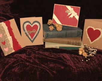 Pack offive handmade valentines day cards