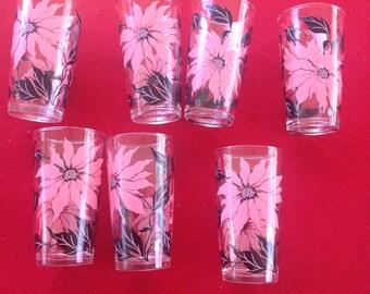Set of seven Christmas poinsettia glass tumblers