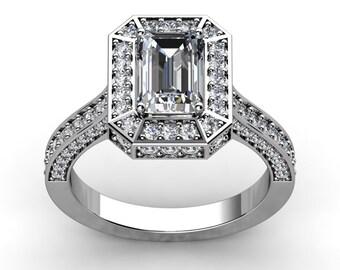 Emerald Cut Moissanite Engagement Ring Forever one Moissanite Center and sides 1.71tw 18kt White Gold Unique Pristine Custom Rings
