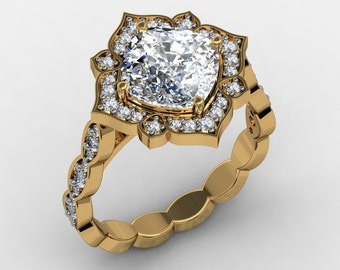 Forever One  Moissanite Engagement Ring 2.40ct Cushion Cut Center  .33ct Natural Diamonds 18k White Gold Vintage Wedding Ring