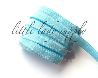 """WHOLESALE 10 yards Neon Blue Frosted Glitter Elastic 3/8"""", wholesale, glitter, headbands, elastic, ribbon"""