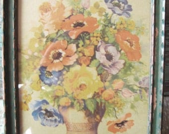Vintage 1930's Poppies Floral print. Original shabby frame.