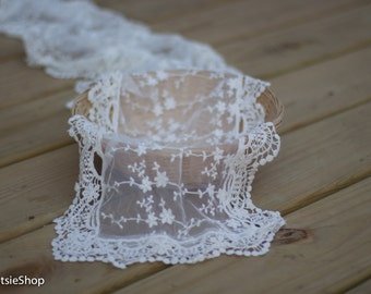 Off White Lace Baby Wrap, Newborn Photography Props, Baby Girl Prop, Lace Wrap, Off White Newborn Wrap, Lace Layer