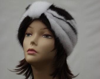 Patchwork headbands for women Hair Ear Warmers hairband Black white winter headband hair accessory womens turban Patchwork Mink Fur Headband