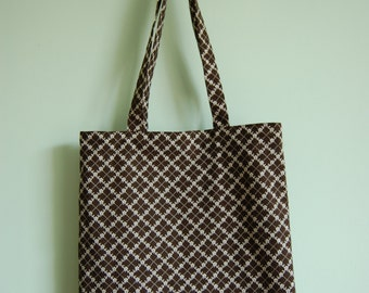 Brown Retro Tote Bag Shopper Bag for Groceries Beach Bag in Retro Vintage Fabric Eco Friendly Tote Bag