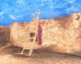 Hacienda oil painting, original