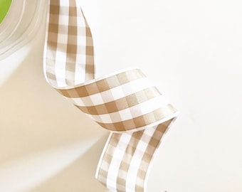 Tan Gingham Ribbon