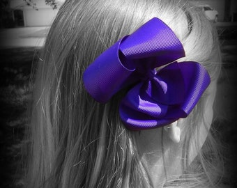 Dark Purple Hair Bow, Purple Boutique Hair Bow, Purple Hairbow, Purple Hair Clip, Boutique Hair Bow, School Hair Bows, Hairbows for Babies